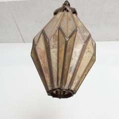 1980s Prism Drop Pendant Lamp Eglomise Sculptural Steel Mexico Vintage - 1542779