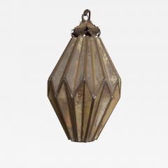 1980s Prism Drop Pendant Lamp Eglomise Sculptural Steel Mexico Vintage - 1543611