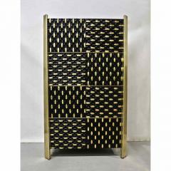 1980s Unique Italian Black Lacquered and Gold Brass Tapered Cabinet Bar - 417554