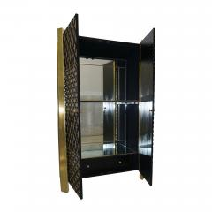 1980s Unique Italian Black Lacquered and Gold Brass Tapered Cabinet Bar - 417561