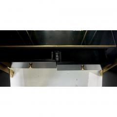 1980s Unique Italian Black Lacquered and Gold Brass Tapered Cabinet Bar - 417570