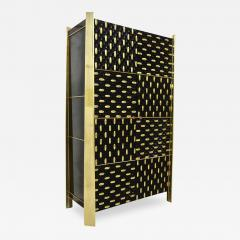 1980s Unique Italian Black Lacquered and Gold Brass Tapered Cabinet Bar - 417819