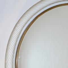 1990s Barovier Italian Milk White Twisted Murano Glass Modern Round Brass Mirror - 2142021