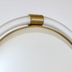 1990s Barovier Italian Milk White Twisted Murano Glass Modern Round Brass Mirror - 2142022