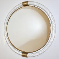 1990s Barovier Italian Milk White Twisted Murano Glass Modern Round Brass Mirror - 2142024