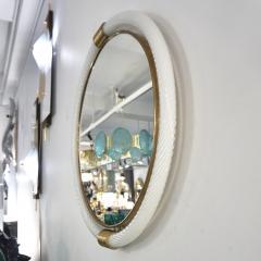 1990s Barovier Italian Milk White Twisted Murano Glass Modern Round Brass Mirror - 2142026