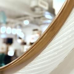 1990s Barovier Italian Milk White Twisted Murano Glass Modern Round Brass Mirror - 2142027