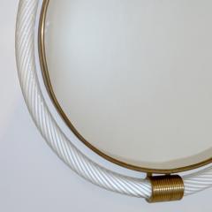 1990s Barovier Italian Milk White Twisted Murano Glass Modern Round Brass Mirror - 2142028