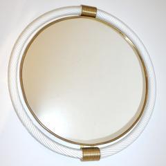 1990s Barovier Italian Milk White Twisted Murano Glass Modern Round Brass Mirror - 2142159