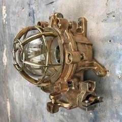 1990s Japanese Cast Bronze Brass Glass Explosion Proof Wall Light with Cage - 1140082