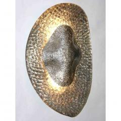 1990s Modern Italian Pair of Silver Finish Textured Murano Glass Concave Sconces - 1035905