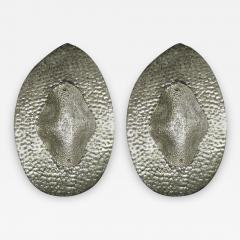 1990s Modern Italian Pair of Silver Finish Textured Murano Glass Concave Sconces - 1036587