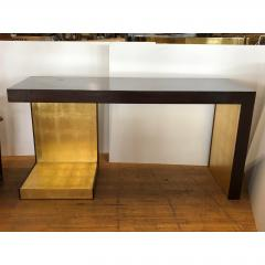 1990s Modern Wood and Gold Leaf Console Table - 1354360