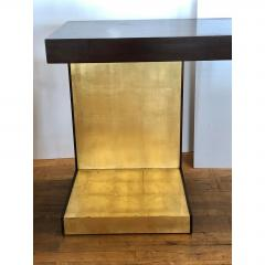 1990s Modern Wood and Gold Leaf Console Table - 1354361