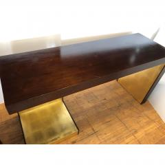 1990s Modern Wood and Gold Leaf Console Table - 1354363