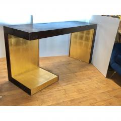 1990s Modern Wood and Gold Leaf Console Table - 1354364