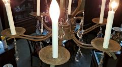 19C French Iron and Crystal Chandelier - 2121212
