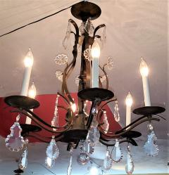 19C French Iron and Crystal Chandelier - 2121216