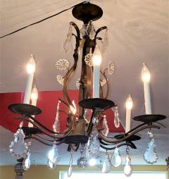 19C French Iron and Crystal Chandelier - 2121217