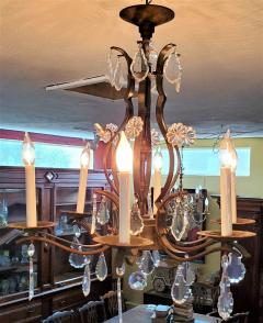 19C French Iron and Crystal Chandelier - 2121218