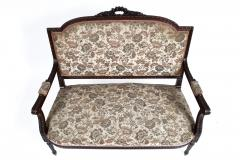 19TH CENTURY FRENCH LOUIS XVI SETTEE UPHOLSTERED WALNUT - 1245758