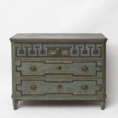 19TH CENTURY SWEDISH GUSTAVIAN STYLE CHEST OF DRAWERS IN BLUE SHADES - 2132821