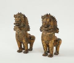 19th C Gilt Bronze Foo Dogs - 1830518