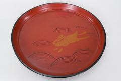 19th C Japanese Red Lacquer Tray with Rabbit Running Over Waves Under Full Moon - 1824961