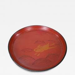 19th C Japanese Red Lacquer Tray with Rabbit Running Over Waves Under Full Moon - 1825749