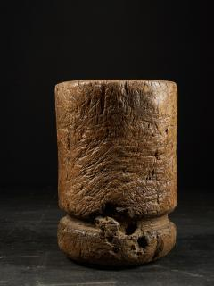 19th C Large Mortar carved from One Single Piece of Wood - 2000325
