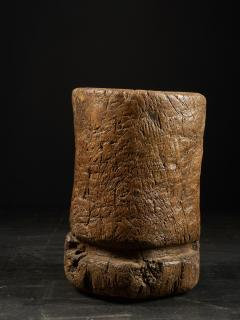 19th C Large Mortar carved from One Single Piece of Wood - 2000326