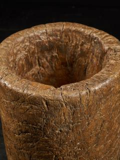 19th C Large Mortar carved from One Single Piece of Wood - 2000328