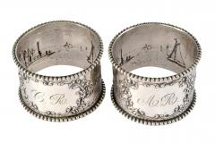 19th C Pair of Napkin Rings Dutch Sterling Silver Repousse - 1295149