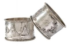 19th C Pair of Napkin Rings Dutch Sterling Silver Repousse - 1295150