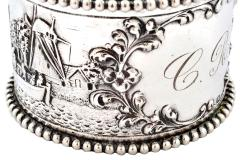 19th C Pair of Napkin Rings Dutch Sterling Silver Repousse - 1295156
