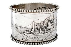19th C Pair of Napkin Rings Dutch Sterling Silver Repousse - 1295157
