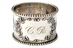 19th C Pair of Napkin Rings Dutch Sterling Silver Repousse - 1295158
