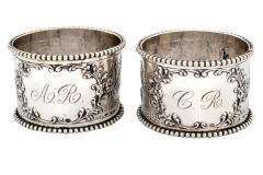19th C Pair of Napkin Rings Dutch Sterling Silver Repousse - 1295160