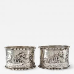 19th C Pair of Napkin Rings Dutch Sterling Silver Repousse - 1388338