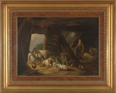 19th C Romanticism Genre Painting Pieter Plas Sheepstable Signed - 2024119