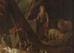 19th C Romanticism Genre Painting Pieter Plas Sheepstable Signed - 2024121