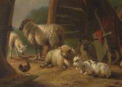 19th C Romanticism Genre Painting Pieter Plas Sheepstable Signed - 2024122