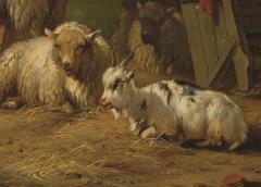 19th C Romanticism Genre Painting Pieter Plas Sheepstable Signed - 2024125