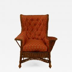 19th Century American Upholstered Wicker Armchair   600318