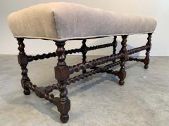 19th Century Antique French Regency Barley Twist Tufted Bench Turned Oak - 1826196