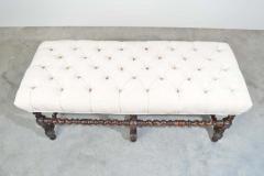 19th Century Antique French Regency Barley Twist Tufted Bench Turned Oak - 1826200