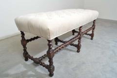19th Century Antique French Regency Barley Twist Tufted Bench Turned Oak - 1826202