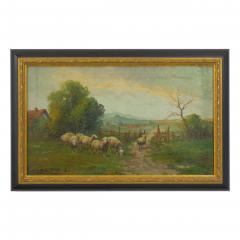 19th Century Antique Pastoral Landscape Painting of Sheep by Jan Pietras - 1119816