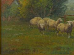19th Century Antique Pastoral Landscape Painting of Sheep by Jan Pietras - 1119818