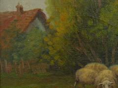 19th Century Antique Pastoral Landscape Painting of Sheep by Jan Pietras - 1119821